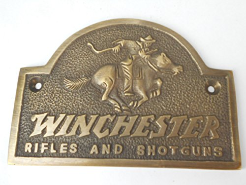 Winchester Rifles and Shotguns - Solid Brass Plaque Plate - Great Ammo Box Case Plaque or Gun Safe Sign