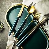 NTT Set Cubiertos De Mesa,Juego de cucharas de Cubiertos de Acero Inoxidable de Lujo nórdico Ligero Mango de cerámica Cuchara Cubiertos de Filete para el hogar Vajilla Occidental 16 / 24pcs-24 Piezas