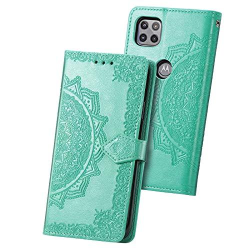 Fertuo Hülle für Motorola Moto G 5G, Handyhülle Leder Flip Hülle Tasche mit Kartenfach, Magnet & Standfunktion [Mandala Muster] Handy Schutzhülle Ledertasche für Motorola Moto G 5G, Grün