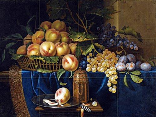 Still Life Fruit Peach Grapes Plum by Paul Liegeois mid-17th Century Tile Mural Kitchen Bathroom Wall Backsplash Behind Stove Range Sink Splashback 4x3 6