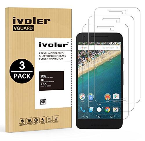 ivoler [3 Stücke] Panzerglas Schutzfolie für LG Google Nexus 5X, 9H Festigkeit, Anti- Kratzer, Bläschenfrei, [2.5D R&e Kante]