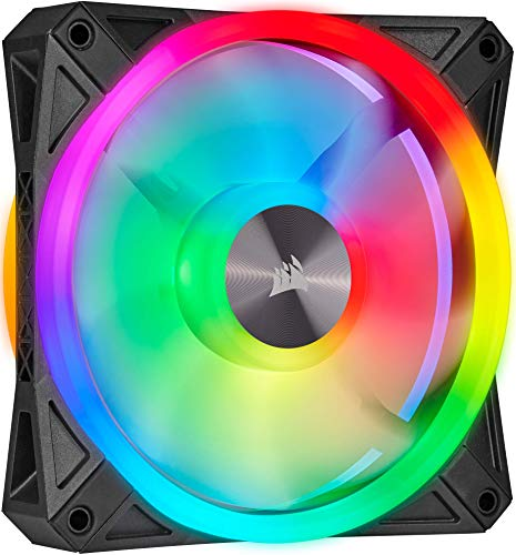 Corsair iCUE QL120 RGB, Ventilador LED RGB de 120 mm , 34 LED RGB Direccionables Individualmente, De Hasta 1500 RPM, Silencioso, Amortiguadores Antivibraciones, Paquete Individual , Negro