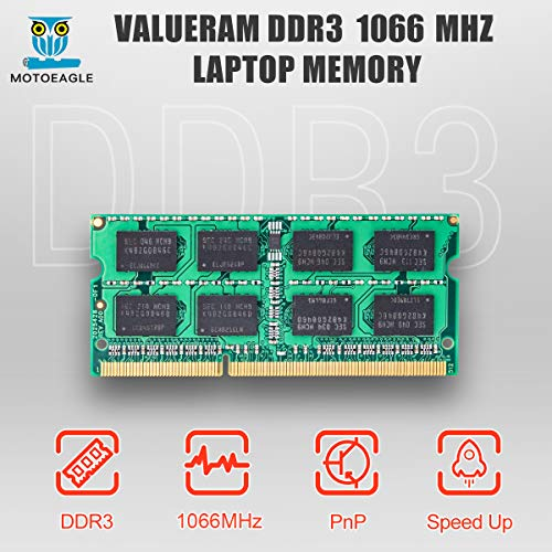 Motoeagle 8GB Kit (2X4GB) 2RX8 PC3-8500 PC3-8500S DDR3 1066MHz SODIMM CL7 204 Pin 1.5v Non-ECC Unbuffered Notebook Memory Laptop RAM Modules Compatible with Intel AMD and Mac Computer