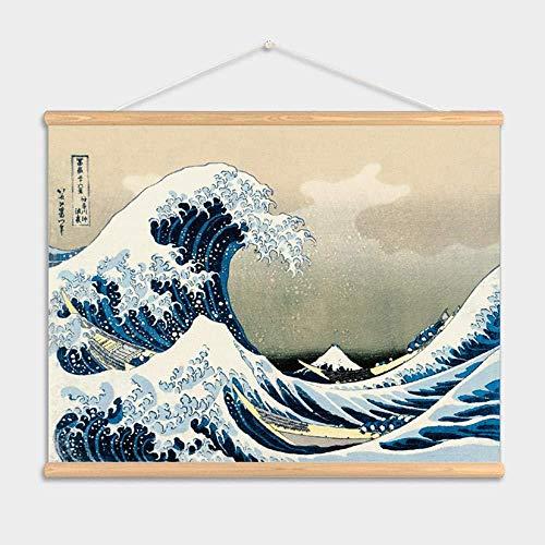 Lienzo De Pintura Pintura Mural Lonaarte De Pared Estilo De Japón La Gran Ola De Kanagawa Imágenes De Arte De Pared Lienzo Colgante Pinturas De Desplazamiento De Madera Para Sala De Estar 45 * 65 Cm
