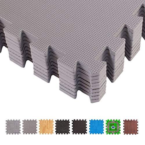 BodenMax CRS804902-3030-18 Tapete colchoneta Protector de Espuma para Gimnasio Yoga o habitacion de niños 30x30x1 cm 18 Piezas de Color Gris