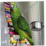 Ruluti 6 Echelles Oiseaux Animaux Perroquets Escalade Jouet Hanging Échelles Balles Colorées avec du Bois Naturel
