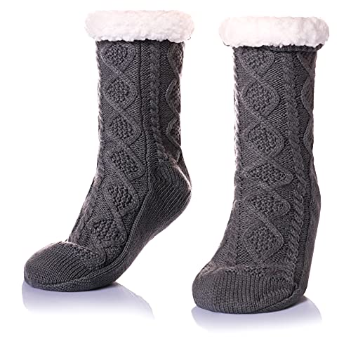 Womens Fuzzy Slipper Socks Snowflake Soft Warm Thick Fleece Lined Christmas Stockings Fluffy Winter Home Socks (Knit-Grey)