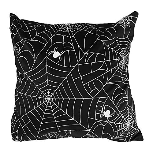 FAVOMOTO Capa de almofada decorativa de Halloween criativa com estampa de teia de aranha, lembrancinha de festa para sofá, biblioteca de café, base preta, padrão de aranha