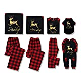 SOONHUA Family Pajamas Matching Sets - Classic Plaid Xmas Clothes with Gold Elk Soft Matching Christmas PJs for Family