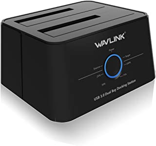 Wavlink USB 3.0 to SATA, Dual Bay External Hard Drive Docking Station for All 2.5/3.5 Inch SATAⅠ/Ⅱ/ⅢSSD HDD, Support 2×8TB &UASP with Offline Clone/Backup Function