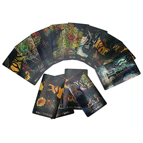 Baraja de Cartas de Tarot, 79 Cartas de Tarot Juego Holográfico único Predicción del Futuro Cartas Adivinación, Baraja Poder Adivinación de Tarot Viaje Clásico para Principiantes, Fiesta Familiar(#1)