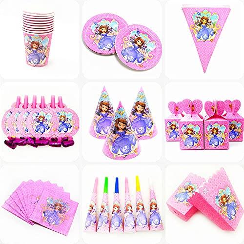 AGAN Placas de Disney de Dibujos Animados Princesa Sofía desechable Par Copa Servilletas la Bandera del cumpleaños de Bienvenida al bebé de cumpleaños decoración del Partido Suministros