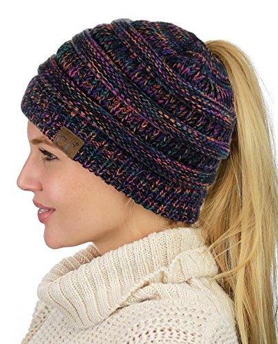 C.C BeanieTail Soft Stretch Cable Knit Messy High Bun Ponytail Beanie Hat, Black/Multi