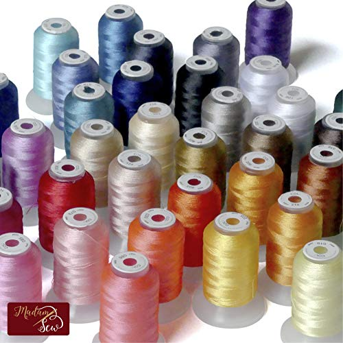 Madam Sew Embroidery Machine Thread Kit – 500 Yards Each of 40 WT Polyester Thread Compatible with Brother, Janome, Singer, Pfaff, Husqvarna and Bernina Embroidery and Sewing Machines (40 Spools)