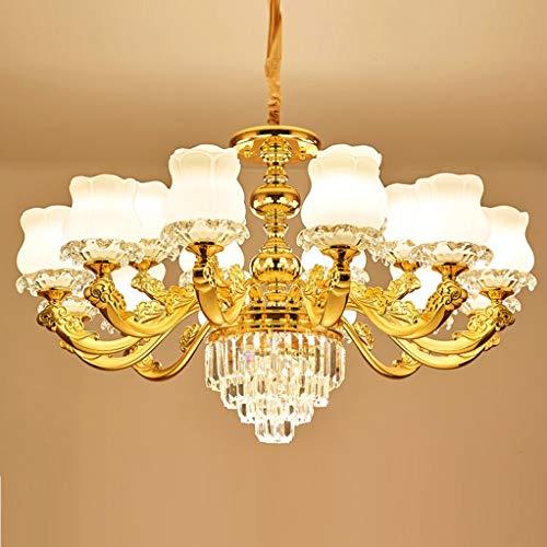 Hmvlw candelabro Villa de Lujo Dúplex Edificio atmosférica lámpara de Cristal Art Deco Dormitorio Estudio de la lámpara E14 (Size : D96cm*H53cm)