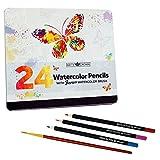 24 Pack Watercolour Pencils with Bonus Watercolour Paint Brush - Tin Package Set