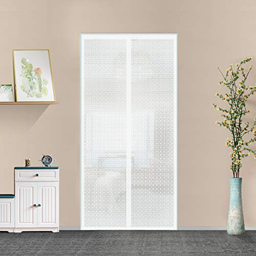 """Insulated Door Curtain, Thermal Magnetic Self-Sealing EVA Door Screen Keep Cold Out Door Cover Auto Closer for Kitchen, Patio, Air Conditioner Room,Hands Free,Fits Doors up to 34"""" x 80"""", White"""