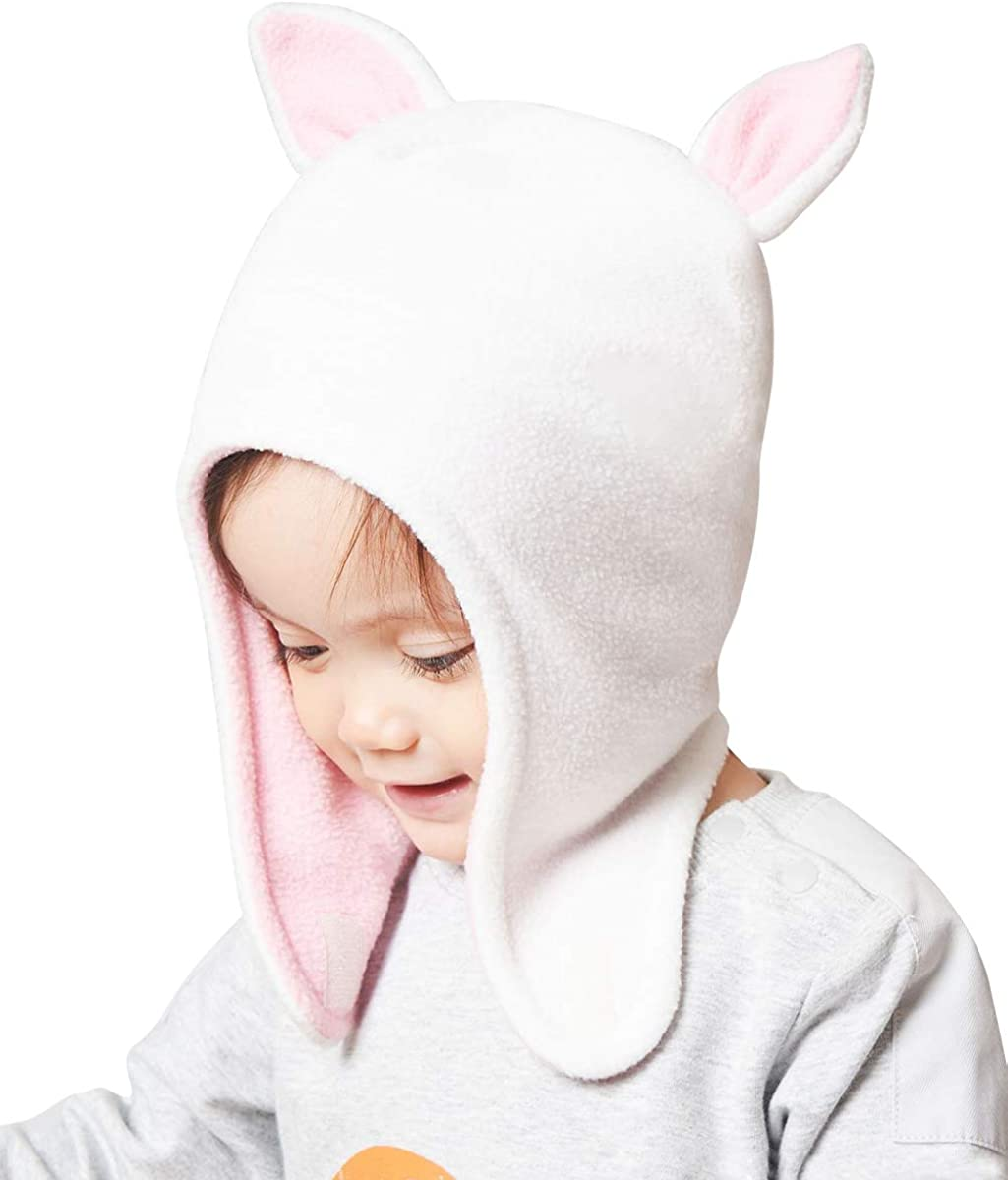 Happy Cherry Warm Fall Winter Cat Ear Hat for Toddler Girls Breathable Fleece Soft Cute Beanie and and Mitten Set(46-50CM)