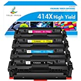 True Image Compatible Toner Cartridge Replacement for HP 414X W2020X 414A HP Color Laserjet Pro MFP M479fdw M454dw M454dn M479fdn Printer Toner High Yield (Black Cyan Yellow Magenta, 4-Pack)