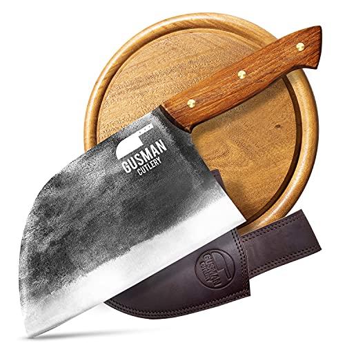 Gusman Cutlery Serbian Chefs Knife - Butcher Knife Meat Cleaver Set w/ Sheath & Cutting Board...