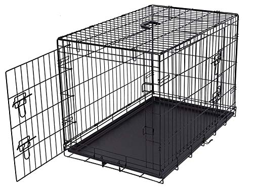 Internet's Best Double Door Steel Crates Collapsible and Foldable Wire Dog Kennel, 36 Inch (Medium), Black Basic Crates Dog Supplies Top