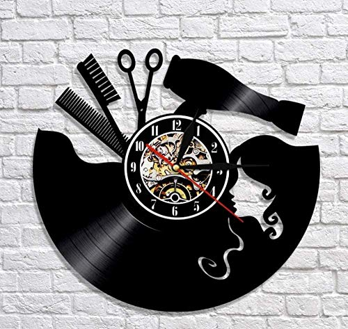 xiaoxong658 Vinyl Wanduhr Kamm Schere Fön Beauty Salon Wanduhr Friseur Vinyl Schallplatte Uhr Vintage Barber Wandschild Barber Wandkunst Geschenk
