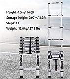 Schiebeleiter Aluminiumlegierung Schiebeleiter mit Haken Stufenleiter Verlängerung tragbare Falten Multifunktions-Schiebeleiter