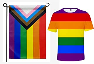 Pride Flag + T-Shirt, Rainbow Gay LGBT Garden Flags and ctory for Love Summer Tops Double Sided Burlap Flag