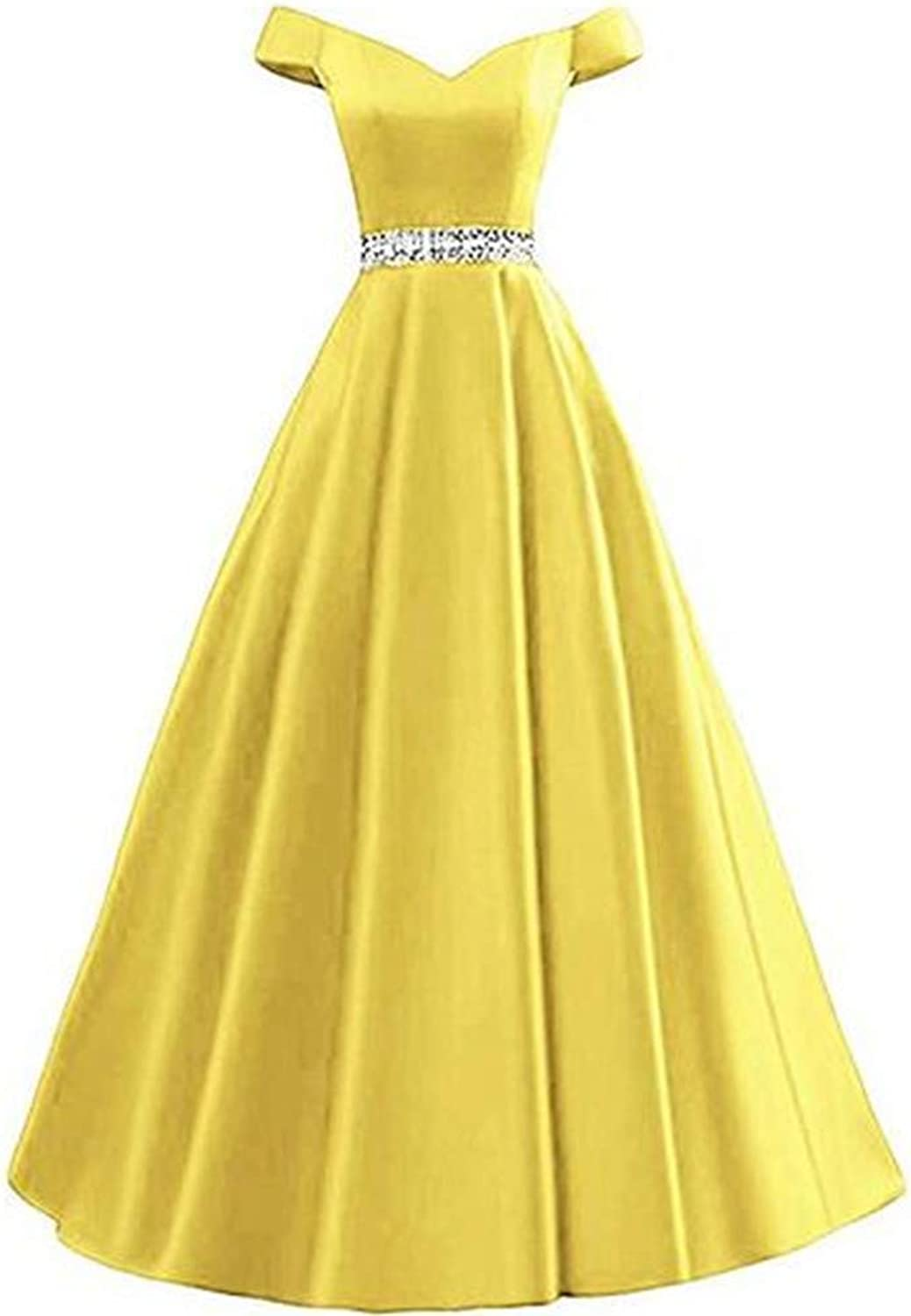 Aiyue Yishen Aline Off The Shoulder Satin Long Beaded Bodice Prom Dress