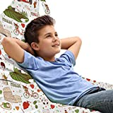 Lunarable Tuscan Lounger Chair Bag, Bicycle Grapes Hearts Polka Dots Ruins Doodle Cartoon Car Ciao Ti Amo Italy Theme, High Capacity Storage with Handle Container, Lounger Size, Multicolor