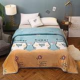 Mantas para Sofá de Franela Manta de paño Grueso y Suave Reversible Manta de Microfibra Manta de Doble Cara súper Suave, mullida, cálida y Ligera para Camas, sofás y sofá-R_230 * 250cm