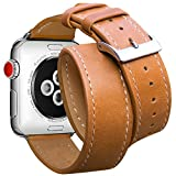 Compatible Apple Watch Band 42mm 44mm, Marge Plus Genuine Leather Watch Strap Replacement Band…