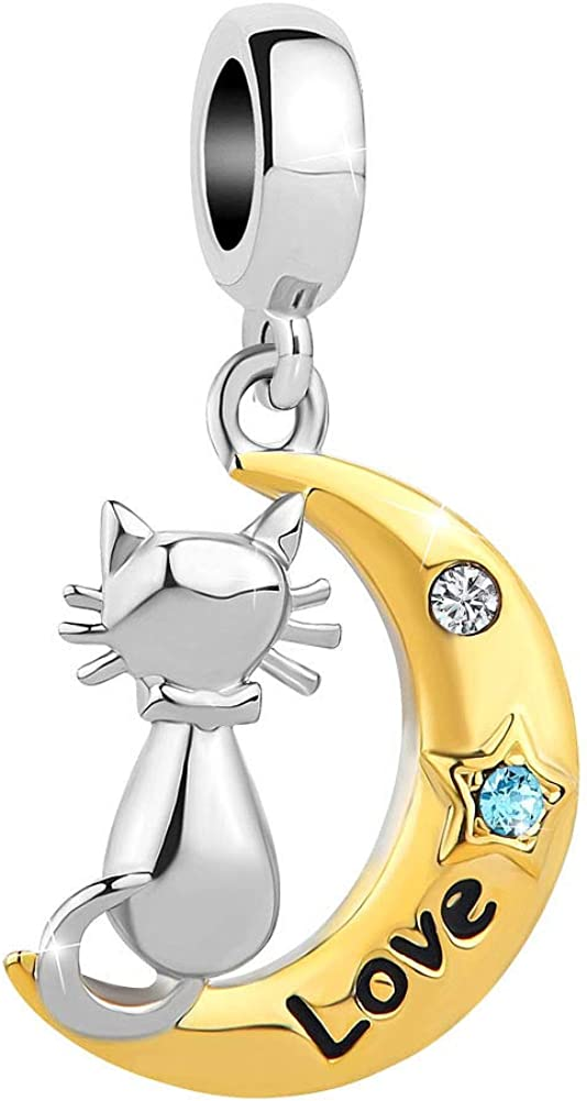SexyMandala Cute Cat on The Moon Charm Love Pet Animal Birthstone Bead fit Pandora Bracelets