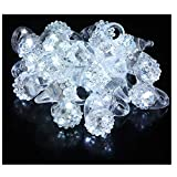 Best Selling 24 LED Light Up Flashing Diamond Like Stretchy Jelly Ring Party Favors for All Occasions, Parties, Concerts, Bridal Showers, Costume Parties, & Get Togethers - One Size Fits All