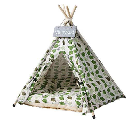 Vinnykud Tente pour Animaux de Compagnie Lit pour Chien Et Chat Tipi pour Chien avec Matelas Amovible et Lavable, Motif Triangulaire