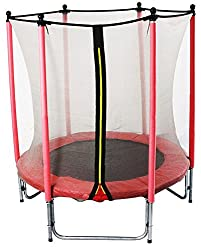 GSD Kids Trampoline Red 15796 with longpole net poles and 1,40 m Ø for absolute indoor fun