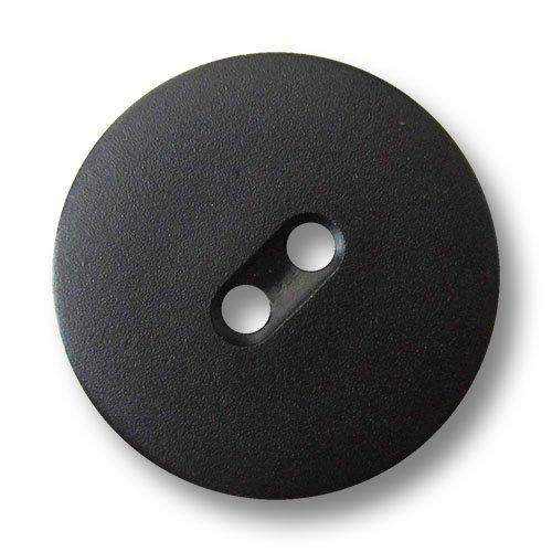 Knopfparadies - 6er Set matt Schwarze diskusförmige Zweiloch Kunststoffknöpfe/Schwarz matt/Kunststoff Knöpfe/Ø ca. 20mm