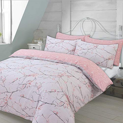 Dreamscene Spring Blossom Duvet Cover with Pillowcase Reversible Floral Bedding Set, Blush Pink Grey, Single