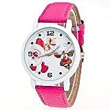 Zolimx Weihnachten Ältere Muster Lederband Uhren (Hot Pink)