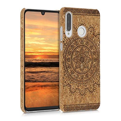 kwmobile Hülle kompatibel mit Huawei P30 Lite - Kork Handyhülle - Handy Case Cover Schutzhülle Aztec Sonnenblume Dunkelbraun Hellbraun