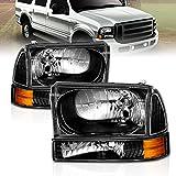 AmeriLite Headlights Replacement W/Corner Light Black For Ford Excursion / Super Duty F250, F350, F450 - Passenger and Driver Side