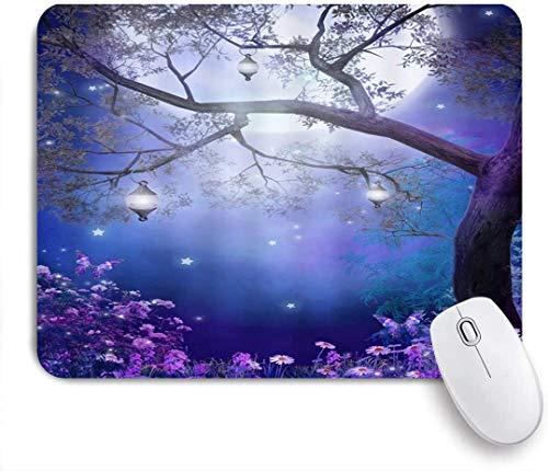 Gaming Mouse Pad rutschfeste Gummibasis, Fantasy Fairy Forest bunte Blume Schmetterling Baum Laternen Mond Natur Nacht Landschaft nebligen Wunderland, für Computer Laptop Schreibtisch