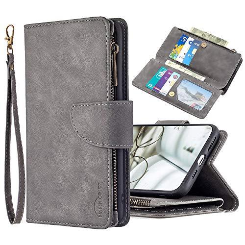 JZ [Solid Color[Zipper][Detachable] Wallet Phone Funda For para iPhone 8 Plus/7 Plus PU Leather Protective Flip Cover - Gray