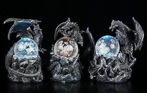 Schwarzes Drachen Figuren Set mit LED Glaskugeln | Fantasy Gothic Deko