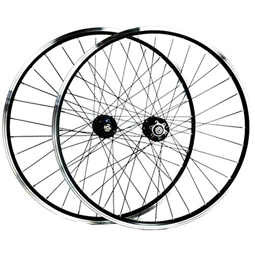 MTB Fahrrad Laufradsatz for 26 Zoll Fahrradfelgen Aluminiumlegierung Doppelwandfelge V-Brake Scheibenbremse Abgedichtete Lager 7-11 Geschwindigkeit (Color : Black)