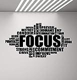 Calcomanía de pared con texto en inglés 'Focus Wall Sticker Motivational Sign Gym Cita' Cartel de la palabra 'Fitness...