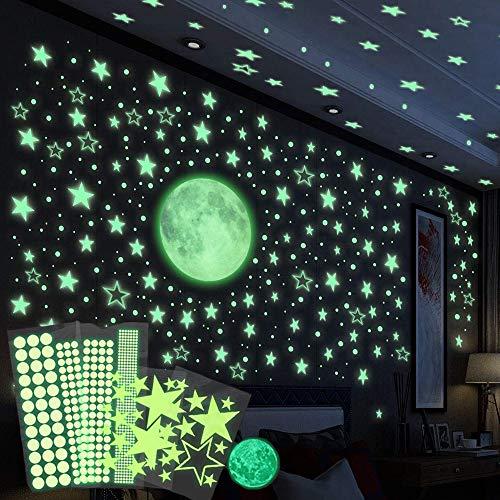 RunLimL Leuchtsticker Wandtattoo, 435pcs Sternenhimmel Punkten Leuchtsterne Selbstklebend, Mond Wanddeko Aufkleber für Schlafzimmer Jungen Mädchen Kinderzimmer