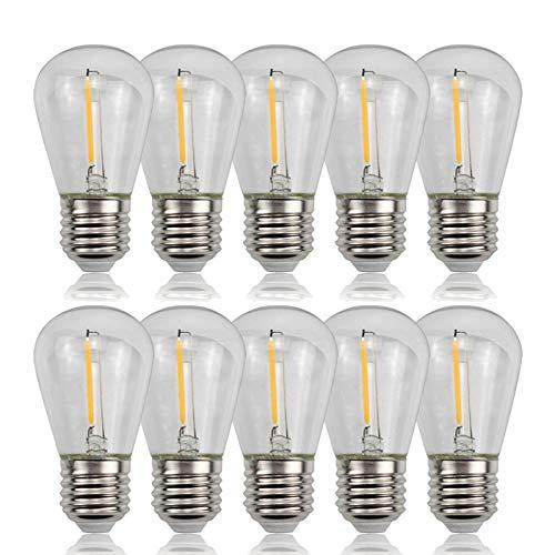 KANGLE-DERI S14 Retro Edison Birne 2W, E27 Schraube Energiesparlampe, 220VLED Gartendekoration Kronleuchterschnur, Home Dekoration Birne 2700K warmweißes Licht (10PCS) [Energieklasse A +]