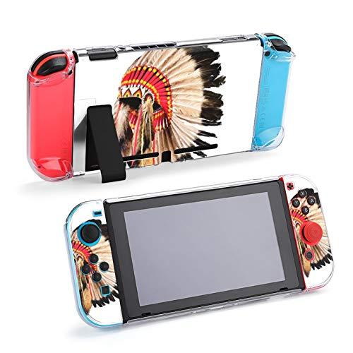 Funda con Soporte para Mascota con Tocado de Jefe Indio Nativo Americano para Nintendo Switch, Funda Protectora para Nintendo Switch
