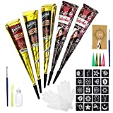 Luckyfine Temporary Tattoos Kit(5 PCS) Indian Tattoos Kit All Natural Ingredient Safe to Human Body, Package...